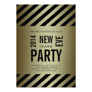 Gold Black Modern 2014 New Years Party Invitation