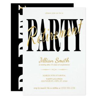 Gold & Black, Modern Retirement Party Invitations
