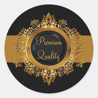 gold black monogram envelope seal round stickers