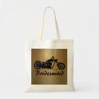Gold Black Motorcycle Wedding Bridesmaid Tote Bag