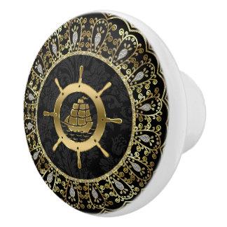 Gold & Black Nautical Boat & Ornate Frame Ceramic Knob