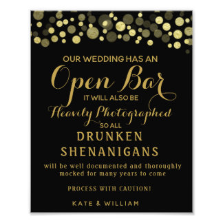 Gold & Black Open Bar wedding sign
