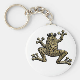 Gold Black Paisley Climbing Frog Keychains