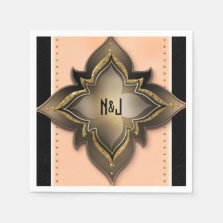 Gold Black & Peach Exotic Chic Flower Party Paper Napkin