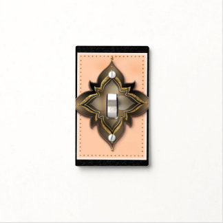 Gold Black & Peach Exotic Flower Moroccan Floral Light Switch Cover