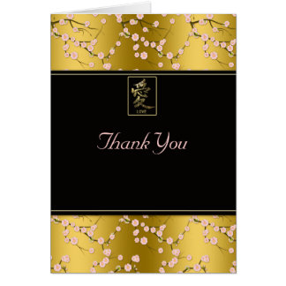Gold Black Pink Cherry Blossoms Thank You Card