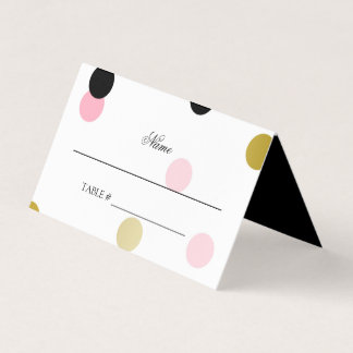Gold Black & Pink Confetti Place Card