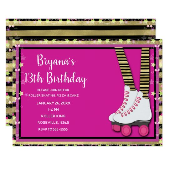 Gold Black & Pink Roller Skating Birthday Party Card