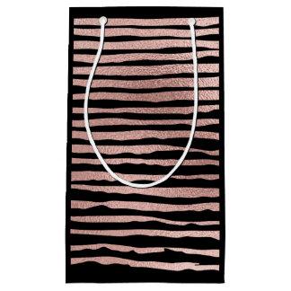 Gold Black Pink Rose Stripes Metallic Vip Bag