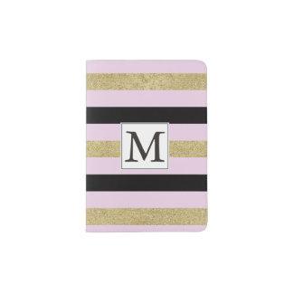 Gold Black Pink Stripes Monogram