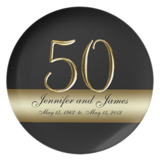 Gold Black Printed 50th Wedding Anniversary Plates