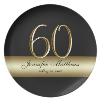 Gold Black Printed 60th Birthday Party Plates