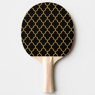 Gold Black Quatrefoil Pattern Ping Pong Paddle