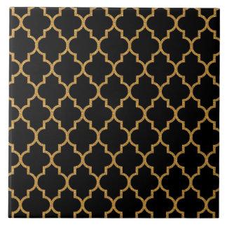 Gold Black Quatrefoil Pattern Tiles