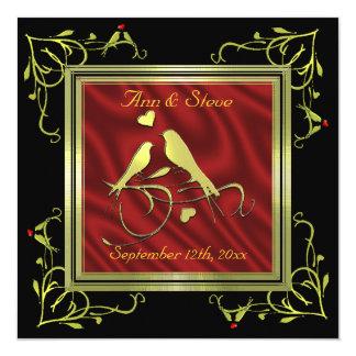 Gold Black Red Lovebirds Invitation Template