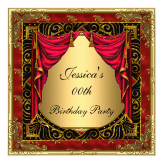 Gold Black Red retro Birthday Party Card