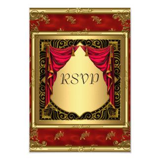 Gold Black Red retro Invitation