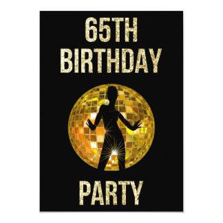 Gold & Black Retro Disco Glitter Ball 65th Party Card