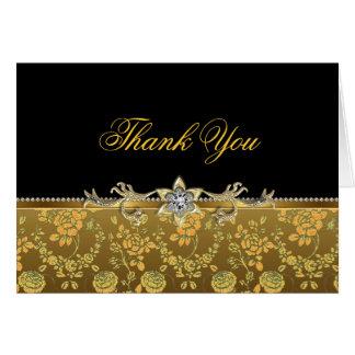 Gold & Black Rose Thank You Card Greeting Card