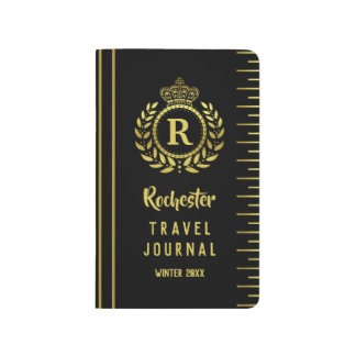 Gold Black Royal Crown Laurel Wreath Deco Monogram Journal