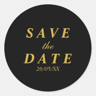 Gold & black save the date round sticker
