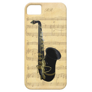 Gold Black Saxophone Sheet Music iPhone 5 Case
