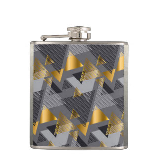 Gold Black Silver Abstract Pattern Design Hip Flask
