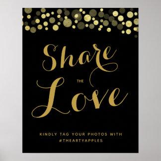 Gold & Black Social media wedding sign hashtag