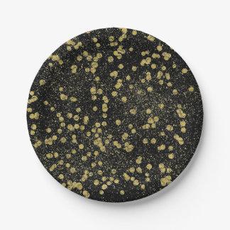 Gold Black Sparkle Confetti Dots 7 Inch Paper Plate