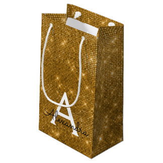 Gold & Black Sparkle Monogram - Add Your Name Small Gift Bag