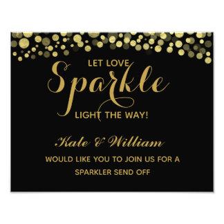 Gold & Black sparkler send off wedding sign