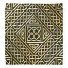 Gold Black Square Shapes Celtic Knotwork Pattern Bandana