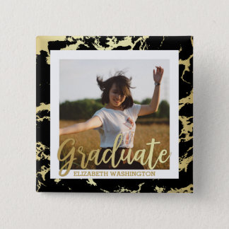 Gold & Black Stains Typography | Photo Graduation 2 Inch Square Button