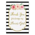 Gold Black Stripe Pink Thank You Flower Girl Card