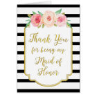 Gold Black Stripe Pink Thank You Maid of Honour Card