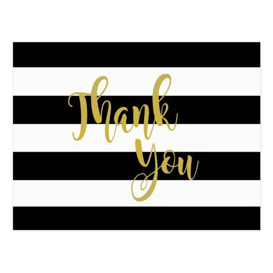 Gold Black Striped Thank You wedding Postcard