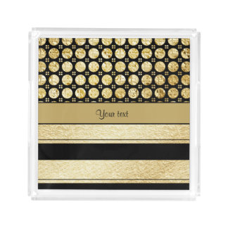 Gold & Black Stripes And Glitter Spots Acrylic Tray
