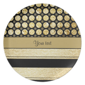Gold & Black Stripes And Glitter Spots Dinner Plate
