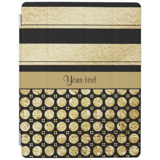 Gold & Black Stripes And Glitter Spots iPad Cover