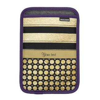 Gold & Black Stripes And Glitter Spots iPad Mini Sleeves