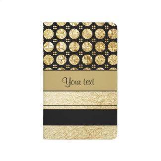 Gold & Black Stripes And Glitter Spots Journal