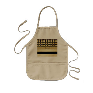 Gold & Black Stripes And Glitter Spots Kids Apron