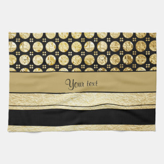 Gold & Black Stripes And Glitter Spots Kitchen Towel