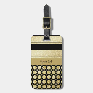 Gold & Black Stripes And Glitter Spots Luggage Tag