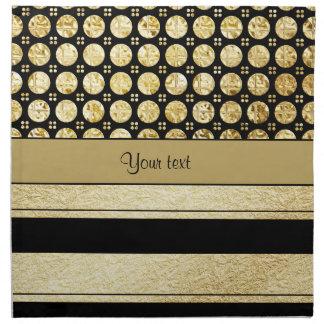 Gold & Black Stripes And Glitter Spots Napkin