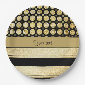 Gold & Black Stripes And Glitter Spots Paper Plate