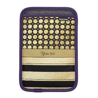 Gold & Black Stripes And Glitter Spots Sleeve For iPad Mini