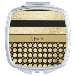 Gold & Black Stripes And Glitter Spots Travel Mirror