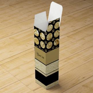 Gold & Black Stripes And Glitter Spots Wine Gift Box