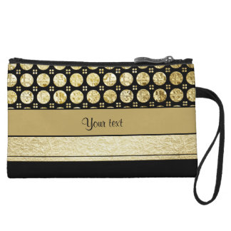 Gold & Black Stripes And Glitter Spots Wristlet